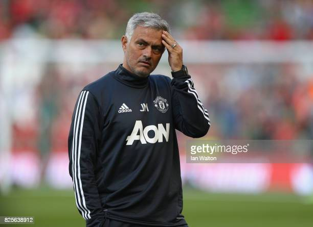 Manchester United manager Jose Mourinho during the International Champions Cup match between Manchester United and Sampdoria at Aviva Stadium on...