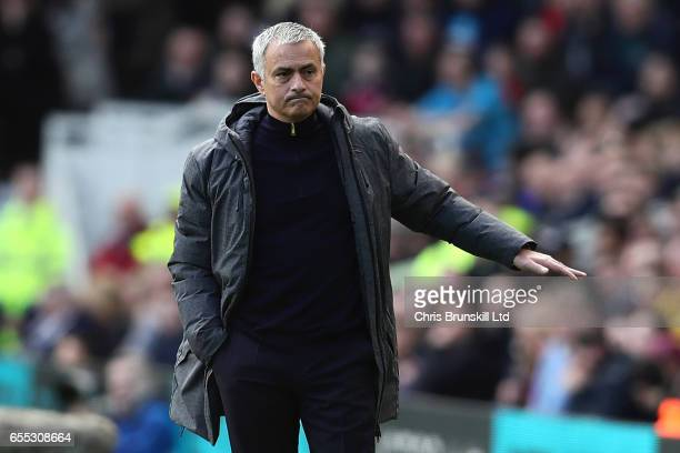 Manchester United manager Jose Mourinho gestures from the touchline during the Premier League match between Middlesbrough and Manchester United at...