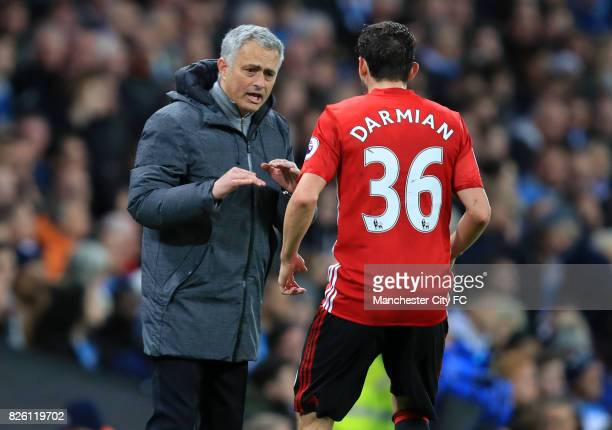 Manchester United manager Jose Mourinho gives instructions to Manchester United's Matteo Darmian