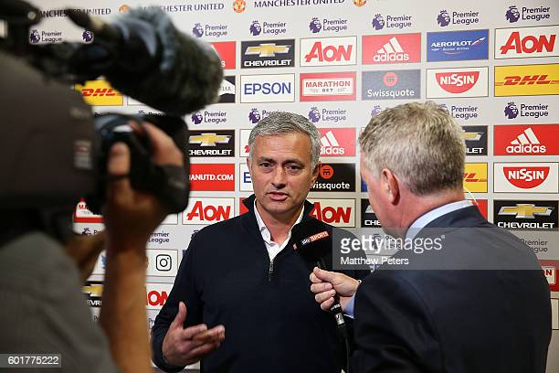 Manchester United Manager Jose Mourinho is interviewed for TV by Sky Sports prior to the Premier League match between Manchester United and...