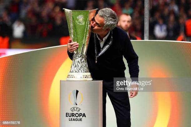 Manchester United manager Jose Mourinho kisses the trophy following the UEFA Europa League Final match between Ajax and Manchester United at Friends...