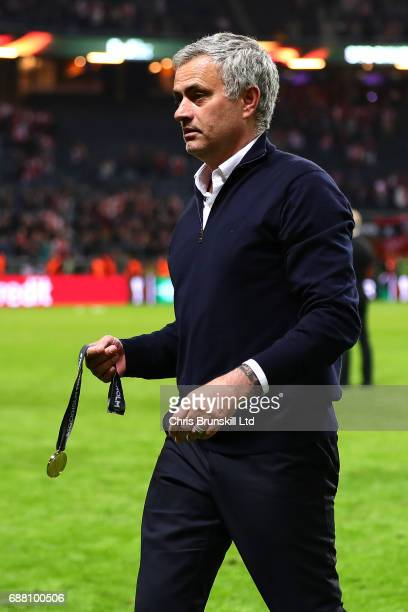 Manchester United manager Jose Mourinho leaves the field with his medal following the UEFA Europa League Final match between Ajax and Manchester...