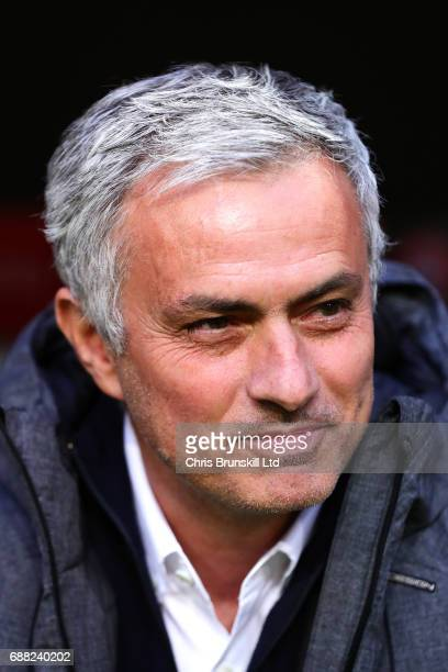Manchester United manager Jose Mourinho looks on ahead of the UEFA Europa League Final match between Ajax and Manchester United at Friends Arena on...