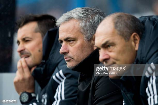 Manchester United manager Jose Mourinho looks on next to his assistants Rui Faria and Silvino Louro during the Premier League match between...