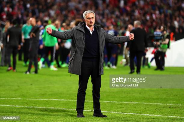 Manchester United manager Jose Mourinho reacts following the UEFA Europa League Final match between Ajax and Manchester United at Friends Arena on...