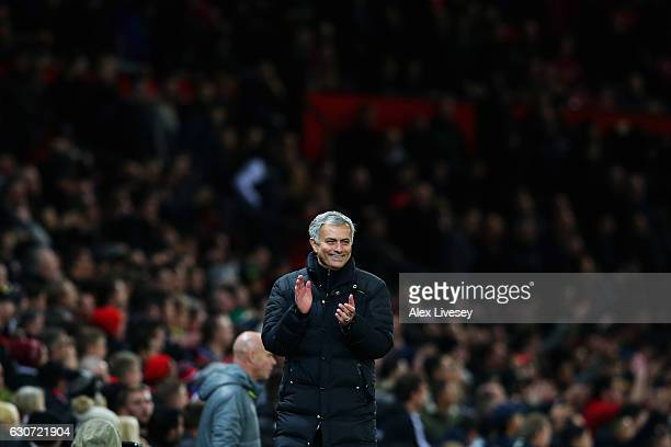 Manchester United Manager Jose Mourinho reacts on the sidelines after the final whistle in the Premier League match between Manchester United and...