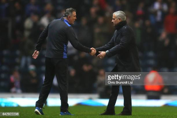 Manchester United manager Jose Mourinho shakes hands with Blackburn Rovers manager Owen Coyle following the Emirates FA Cup Fifth Round match between...