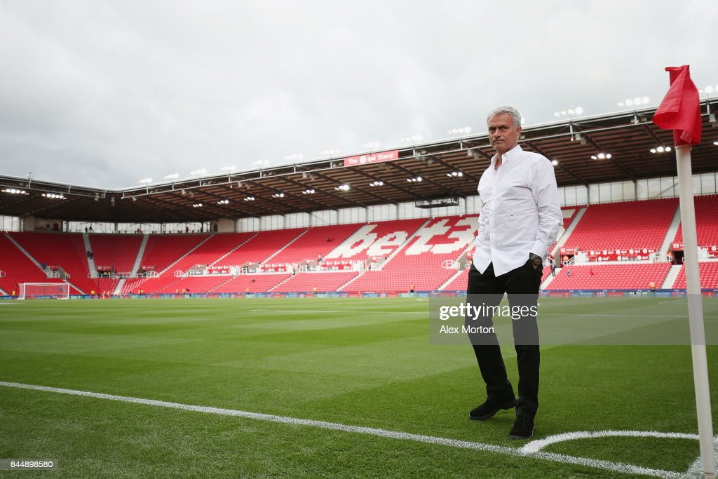 Manchester United manager Jose Mourinho walks out prior to the Premier League match between Stoke City and Manchester United at Bet365 Stadium on September 9, 2017 in Stoke on Trent, England.