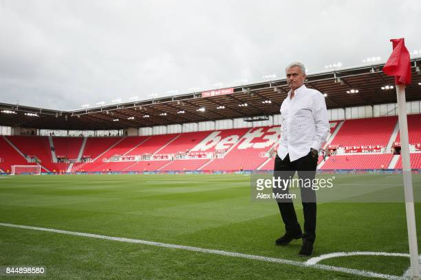 Manchester United manager Jose Mourinho walks out prior to the Premier League match between Stoke City and Manchester United at Bet365 Stadium on...