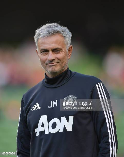 Manchester United manager Jose Mourinho winks and smiles during the Aon Tour pre season friendly game between Manchester United and Sampdoria at...