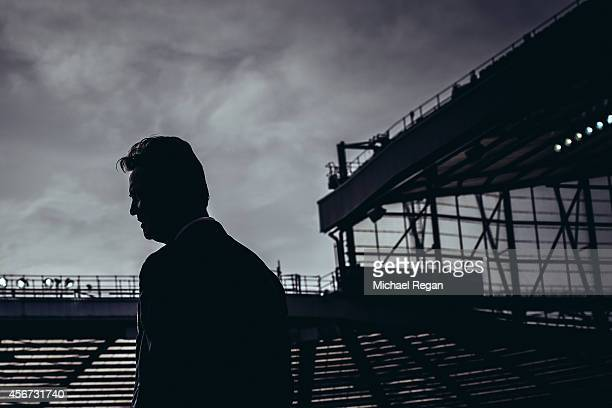 Manchester United manager Louis van Gaal looks on during the Barclays Premier League match between Manchester United and Everton at Old Trafford on...