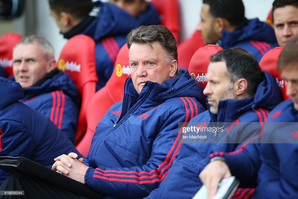 Manchester United manager Louis van Gaal looks on during the Barclays Premier m/ match between Sunderland and Manchester United at The Stadium of Light on February 13, 2016 in Sunderland, England.