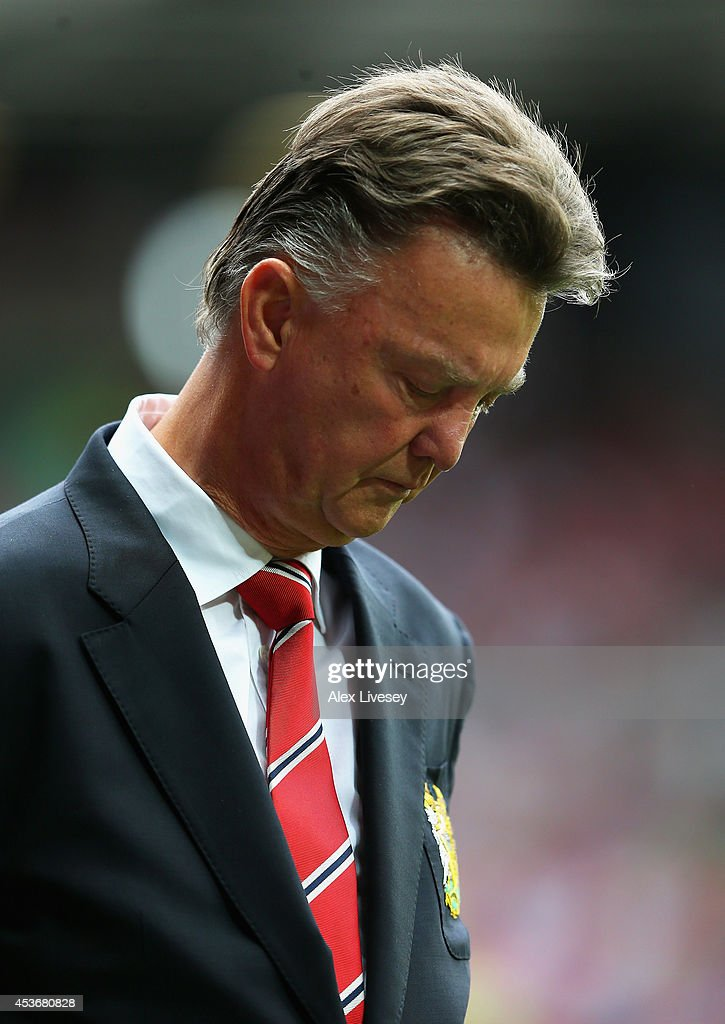 Manchester United Manager Louis van Gaal looks on prior to the Barclays Premier League match between Manchester United and Swansea City at Old Trafford on August 16, 2014 in Manchester, England.