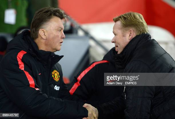 Manchester United manager Louis van Gaal shakes hands with Southampton manager Ronald Koeman before the match