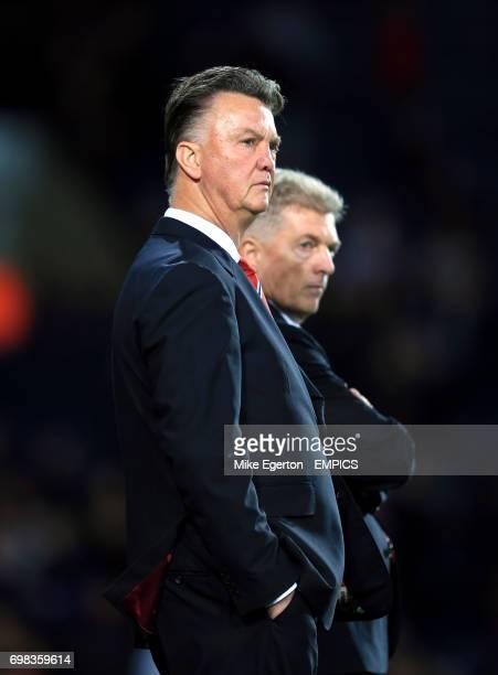Manchester United manager Louis van Gaal with Jos van Dijk