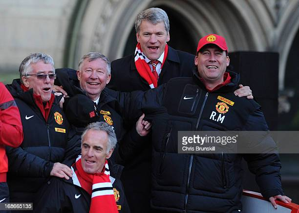 Manchester United manager Sir Alex Ferguson and chiefexecutive David Gill celebrate during the Manchester United Premier League Winners Parade at...