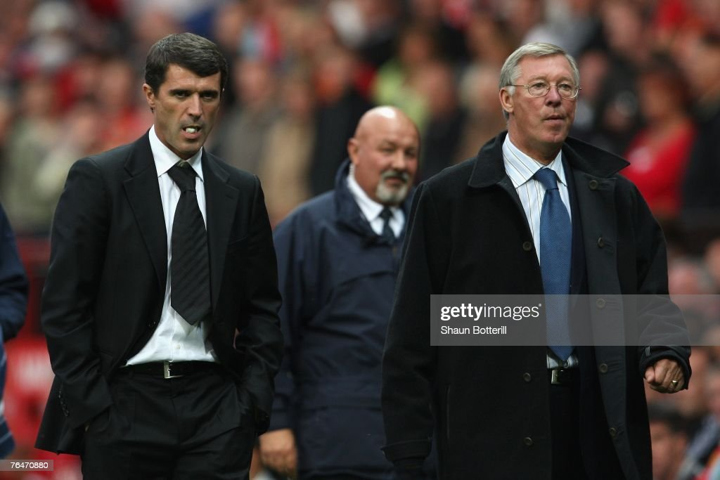 Manchester United Manager Sir Alex Ferguson (R) and Sunderland Manager Roy Keane leave the playing area at the end of the Barclays Premier League match between Manchester United and Sunderland at Old Trafford on September 1, 2007 in Manchester, England.