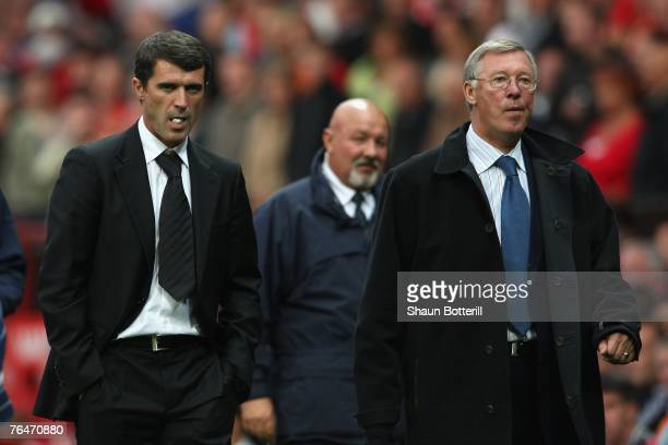 Manchester United Manager Sir Alex Ferguson and Sunderland Manager Roy Keane leave the playing area at the end of the Barclays Premier League match...