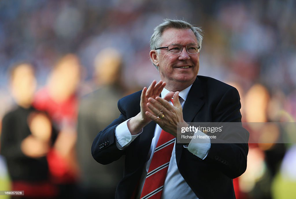 Manchester United manager Sir <a gi-track='captionPersonalityLinkClicked' href=/galleries/search?phrase=Alex+Ferguson&family=editorial&specificpeople=203067 ng-click='$event.stopPropagation()'>Alex Ferguson</a> applauds the crowd after his 1,500th and final match in charge of the club following the Barclays Premier League match between West Bromwich Albion and Manchester United at The Hawthorns on May 19, 2013 in West Bromwich, England.