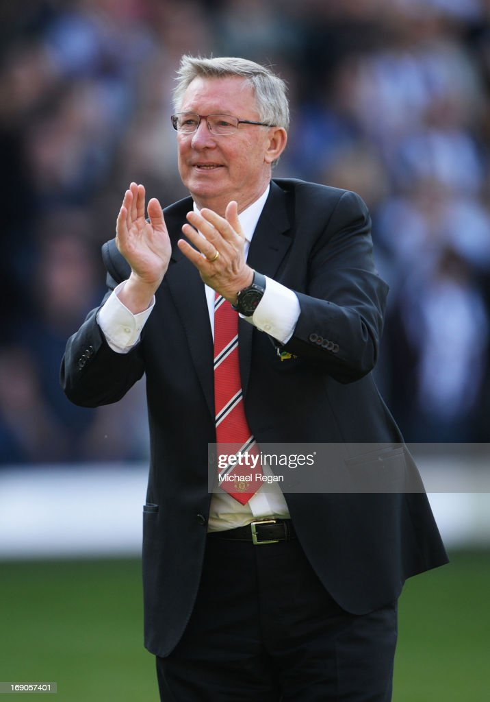 Manchester United manager Sir Alex Ferguson applauds the crowd after his 1,500th and final match in charge of the club following the Barclays Premier League match between West Bromwich Albion and Manchester United at The Hawthorns on May 19, 2013 in West Bromwich, England.
