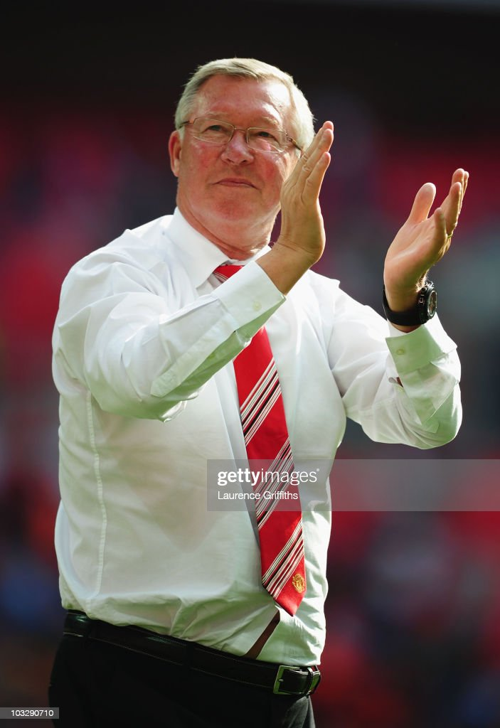 Manchester United manager Sir Alex Ferguson applauds the fans after victory in the FA Community Shield match between Chelsea and Manchester United at Wembley Stadium on August 8, 2010 in London, England.
