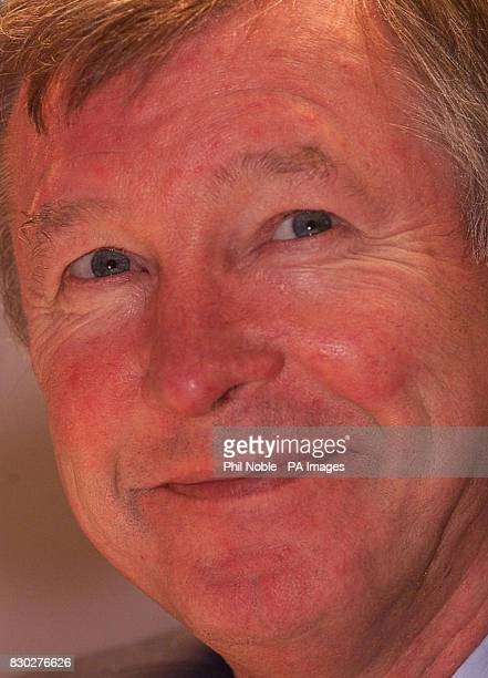Manchester United manager Sir Alex Ferguson at a news conference ahead of the European Champions' League game against Sturm Graz at Old Trafford