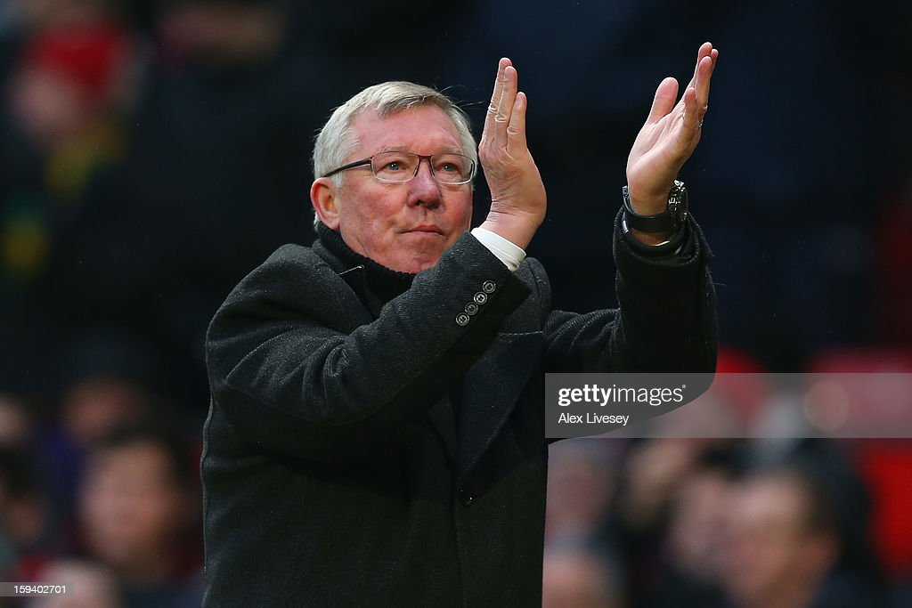 Manchester United Manager Sir <a gi-track='captionPersonalityLinkClicked' href=/galleries/search?phrase=Alex+Ferguson&family=editorial&specificpeople=203067 ng-click='$event.stopPropagation()'>Alex Ferguson</a> celebrates at the end of the Barclays Premier League match between Manchester United and Liverpool at Old Trafford on January 13, 2013 in Manchester, England.