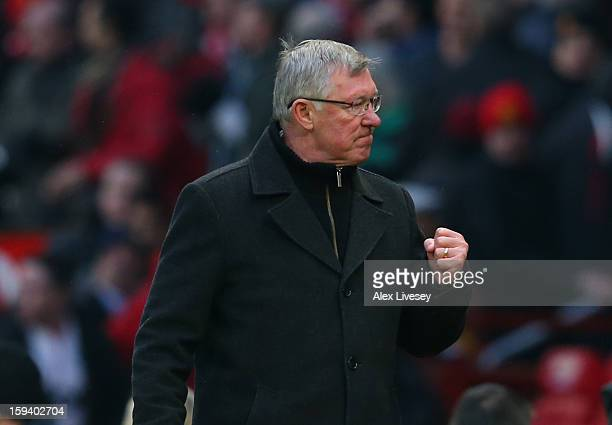 Manchester United Manager Sir Alex Ferguson celebrates at the end of the Barclays Premier League match between Manchester United and Liverpool at Old...