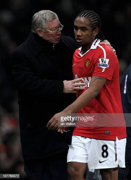 Manchester United Manager Sir Alex Ferguson has words with Anderson of Manchester United during the Barclays Premier League match between Manchester...