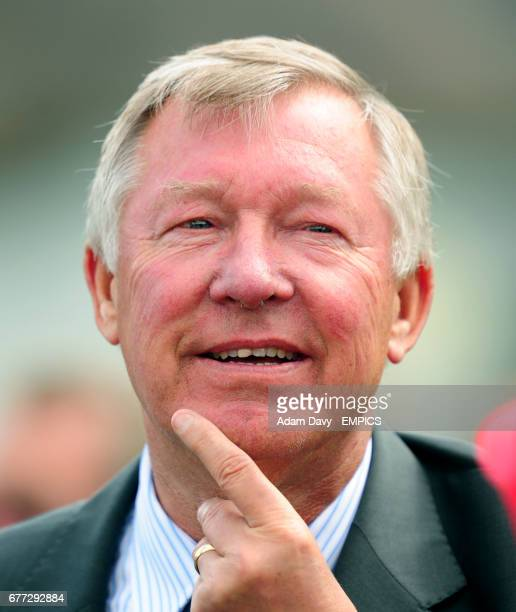 Manchester United Manager Sir Alex Ferguson in the parade ring at Newmarket