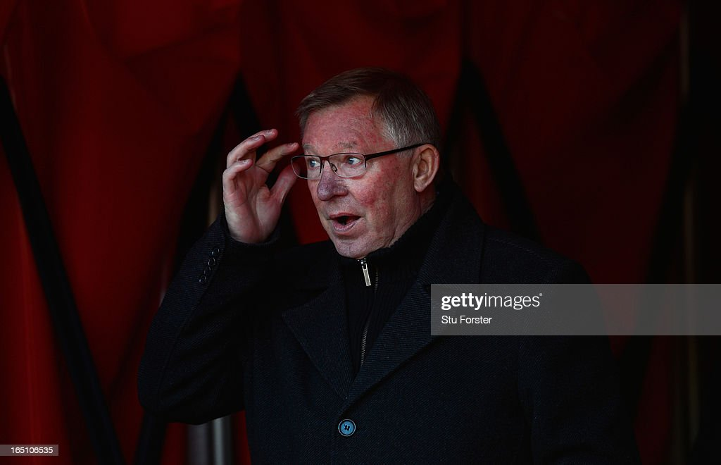 Manchester United manager Sir <a gi-track='captionPersonalityLinkClicked' href=/galleries/search?phrase=Alex+Ferguson&family=editorial&specificpeople=203067 ng-click='$event.stopPropagation()'>Alex Ferguson</a> looks on before the Barclays Premier League match between Sunderland and Manchester United at Stadium of Light on March 30, 2013 in Sunderland, England.