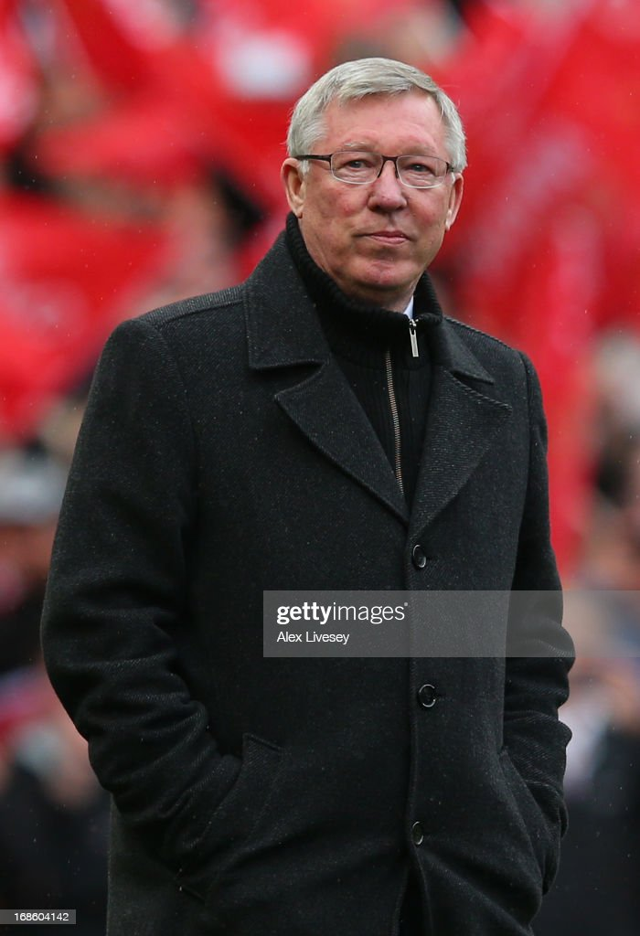 Manchester United Manager Sir <a gi-track='captionPersonalityLinkClicked' href=/galleries/search?phrase=Alex+Ferguson&family=editorial&specificpeople=203067 ng-click='$event.stopPropagation()'>Alex Ferguson</a> looks on prior to the Barclays Premier League match between Manchester United and Swansea City at Old Trafford on May 12, 2013 in Manchester, England.