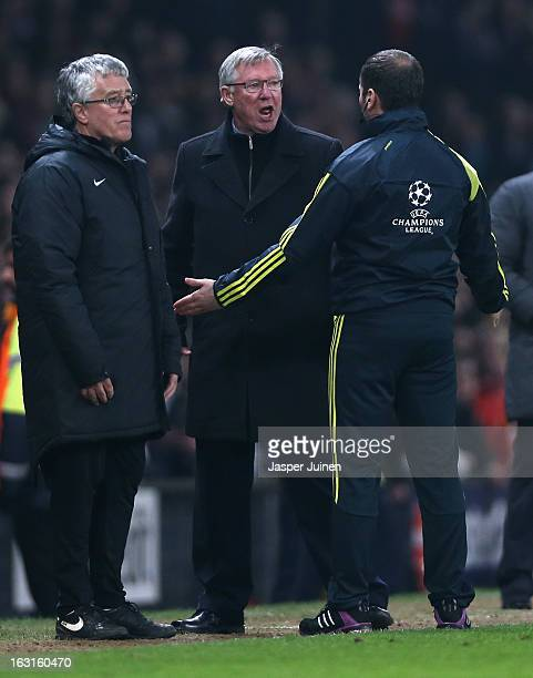 Manchester United Manager Sir Alex Ferguson reacts after Nani of Manchester United is sent off during the UEFA Champions League Round of 16 Second...