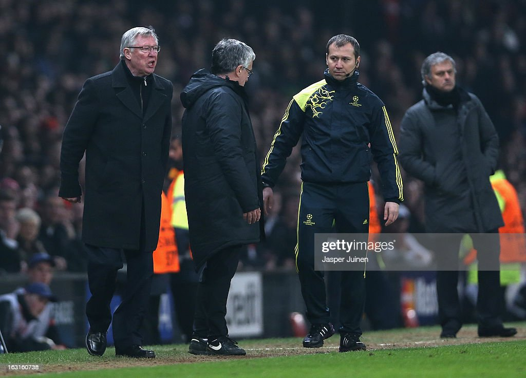 Manchester United Manager Sir Alex Ferguson reacts after Nani of Manchester United is sent off during the UEFA Champions League Round of 16 Second leg match between Manchester United and Real Madrid at Old Trafford on March 5, 2013 in Manchester, United Kingdom.