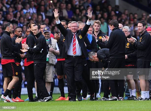 Manchester United manager Sir Alex Ferguson salutes the crowd prior his 1500th and final match in charge of the club ahead of the Barclays Premier...
