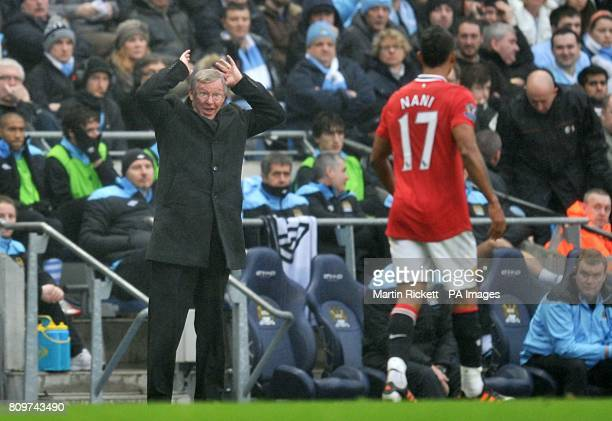 Manchester United manager Sir Alex Ferguson shows his frustrations to Luis Nani from the touchline after a throwin taken by the United player