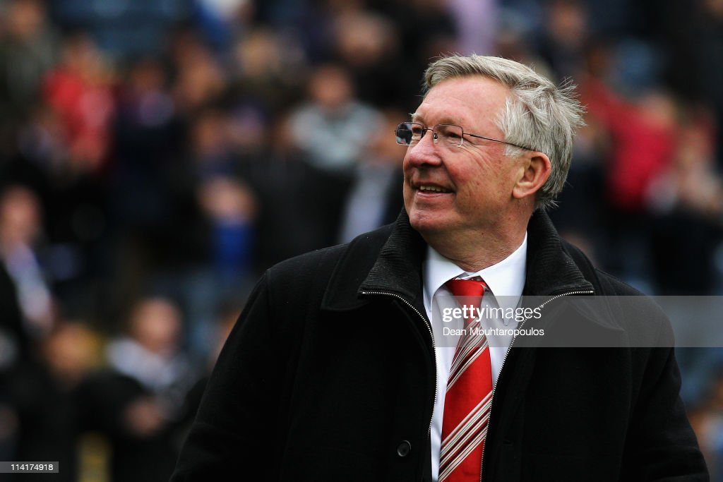 Manchester United Manager Sir <a gi-track='captionPersonalityLinkClicked' href=/galleries/search?phrase=Alex+Ferguson&family=editorial&specificpeople=203067 ng-click='$event.stopPropagation()'>Alex Ferguson</a> smiles after drawing the Barclays Premier League match between Blackburn Rovers and Manchester United but winning the title at Ewood park on May 14, 2011 in Blackburn, England.