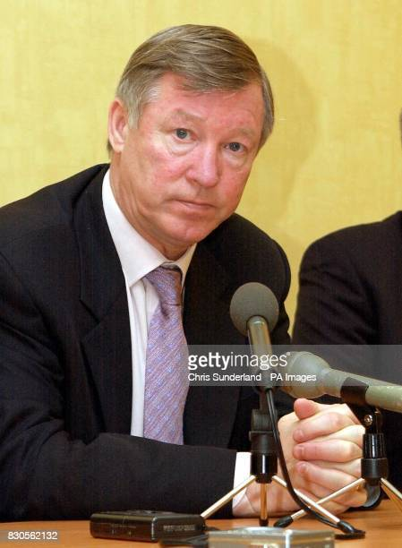 LEAGUE Manchester United manager Sir Alex Ferguson speaks to the media during a press conference at the club's training ground in Carrington...
