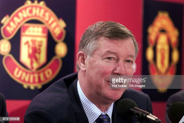 Manchester United manager Sir Alex Ferguson talks to the media at a press conference held at the club's Old Trafford stadium where it was confirmed...