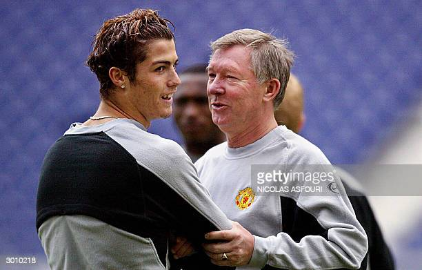 Manchester United manager Sir Alex Ferguson with Manchester United's striker Cristiano Ronaldo at the training session at the Dragon stadium in Porto...
