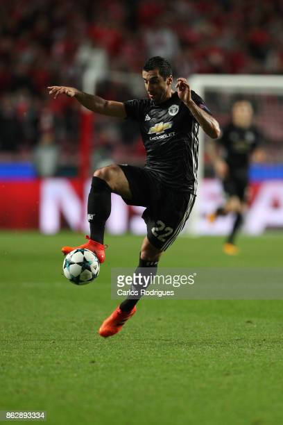Manchester United midfielder Henrikh Mkhitaryan from Armenia during SL Benfica v Manchester United UEFA Champions League round three match at Estadio...