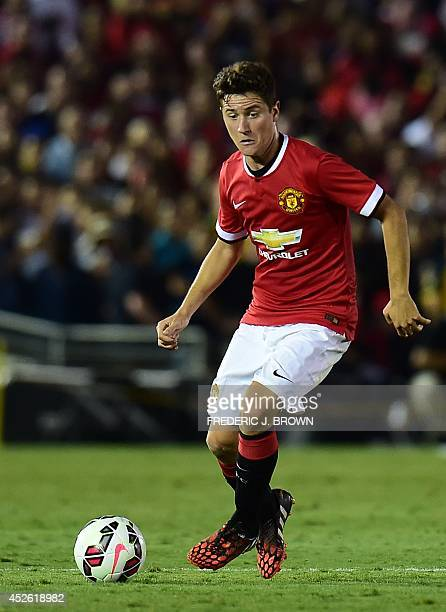 Manchester United new signing Ander Herrera looks to pass against the LA Galaxy in their Chevrolet Cup match at the Rose Bowl in Pasadena California...