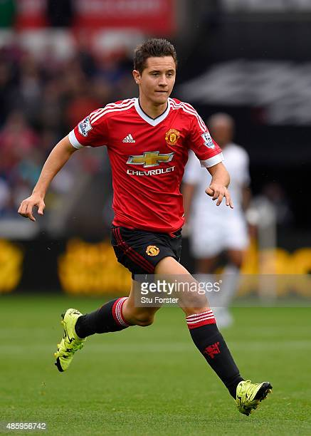 Manchester United player Ander Herrera in action during the Barclays Premier League match between Swansea City and Manchester United on August 30...