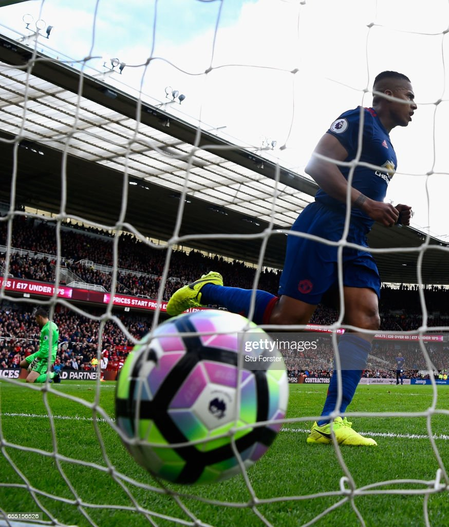 Manchester United player Antonio Valencia runs in the third United goal during the Premier League match between Middlesbrough and Manchester United at Riverside Stadium on March 19, 2017 in Middlesbrough, England.