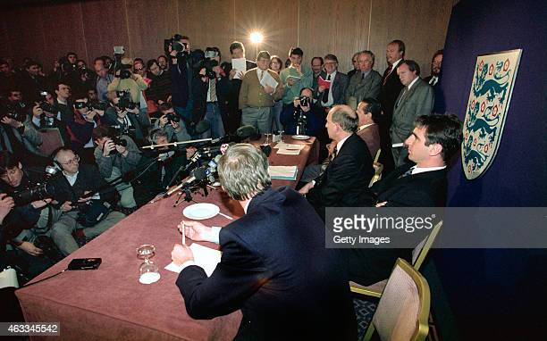Manchester United player Eric Cantona and manager Alex Ferguson pictured at a media conference after an FA disciplinary hearing after Cantona was...