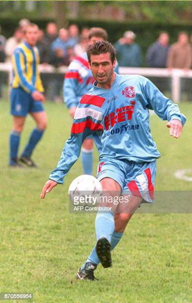 Manchester United player Eric Cantona plays with the Varietes Club de France of which he is a member in a game to benefit the 'Action Michel Platini'...