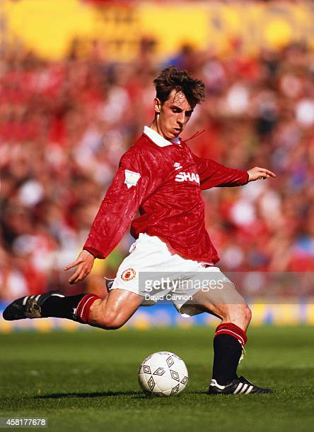 Manchester United player Gary Neville in action during an FA Premier League match between Manchester United and Coventry at Old Trafford on May 8...