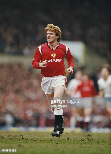 Manchester United player Gordon Strachan in action during an FA CUP match against West Ham at Old Trafford on march 9 1985 in Manchester England
