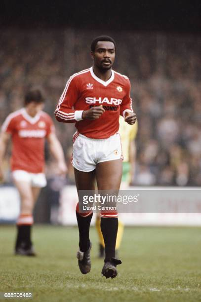 Manchester United player Laurie Cunningham in action at Carrow Road against Norwich City in a First Division match on April 30 1983 in Norwich England