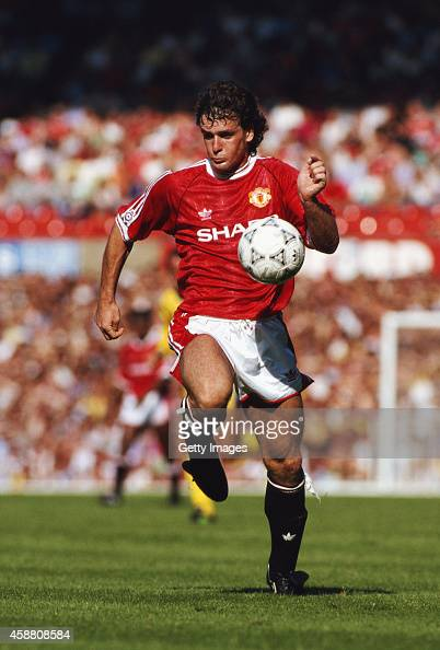 Manchester United player Mark Hughes in action during a League Division One match between Manchester United and Leeds United at Old Trafford on...